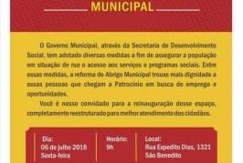 Convite Entrega da Reforma do Abrigo Municipal