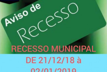 Vêm ai… Recesso público.  Do dia 21 à  02 de Janeiro 2019???