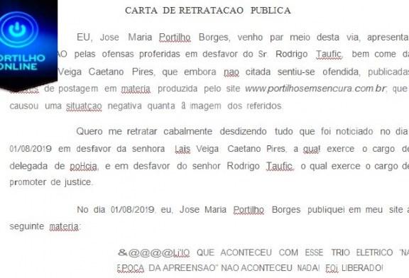 CARTA DE RETRATAÇÃO PUBLICA