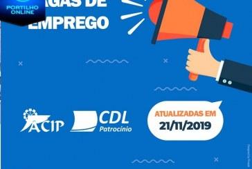 ACIP/CDL informam vagas de emprego  – 27 de Novembro de 2019 –