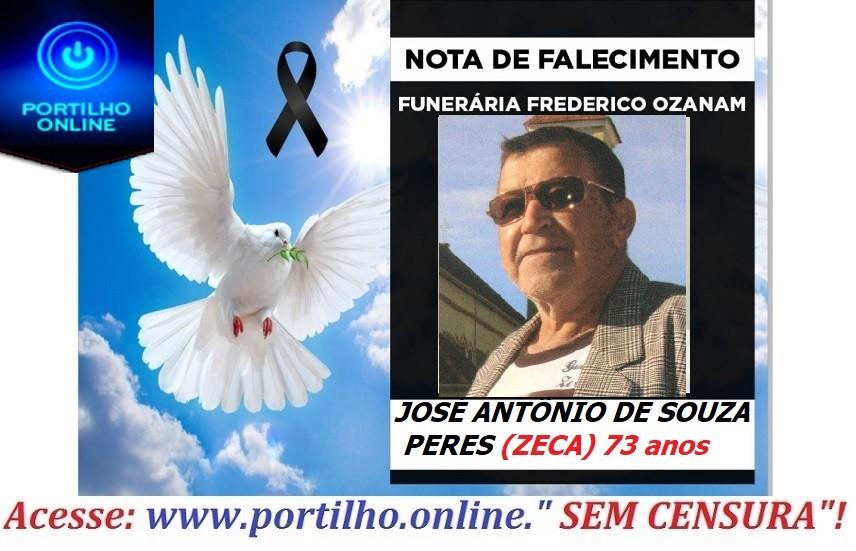 👉 😔⚰🕯😪👉😱😭😪⚰🕯😪 NOTA DE FALECIMENTO… Faleceu em Patrocinioo Sr. JOSÉ ANTÔNIO DE SOUZA PERES (ZECA)… FUNERÁRIA FREDERICO OZANAM.